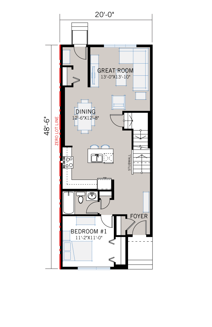 Base floorplan of mensa2-Prairie-C2 - 1,871 sqft, 4 Bedroom, 3 Bathroom - Cardel Homes Calgary