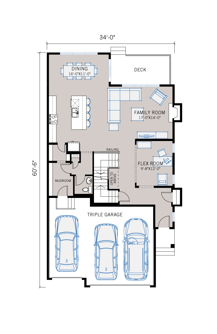 Base floorplan of Addison - Shingle S1 - 2,785 sqft, 3 Bedroom, 2.5 Bathroom - Cardel Homes Calgary