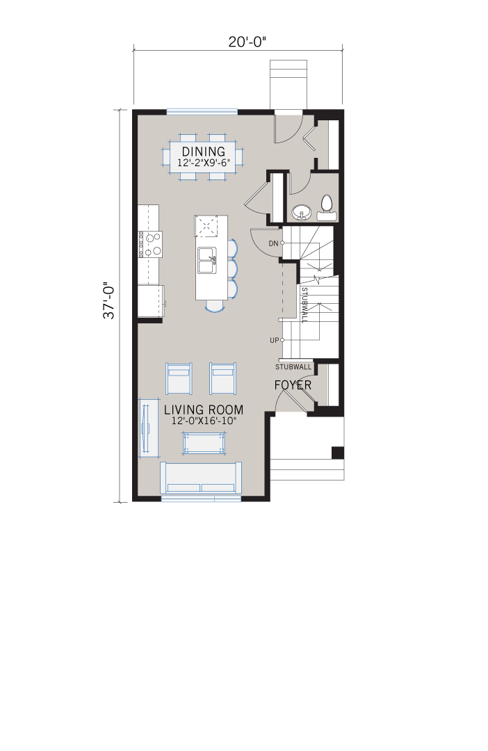 Base floorplan of Alder 2 - CB-Farmhouse C3 - 1,408 sqft, 3 Bedroom, 2.5 Bathroom - Cardel Homes Calgary