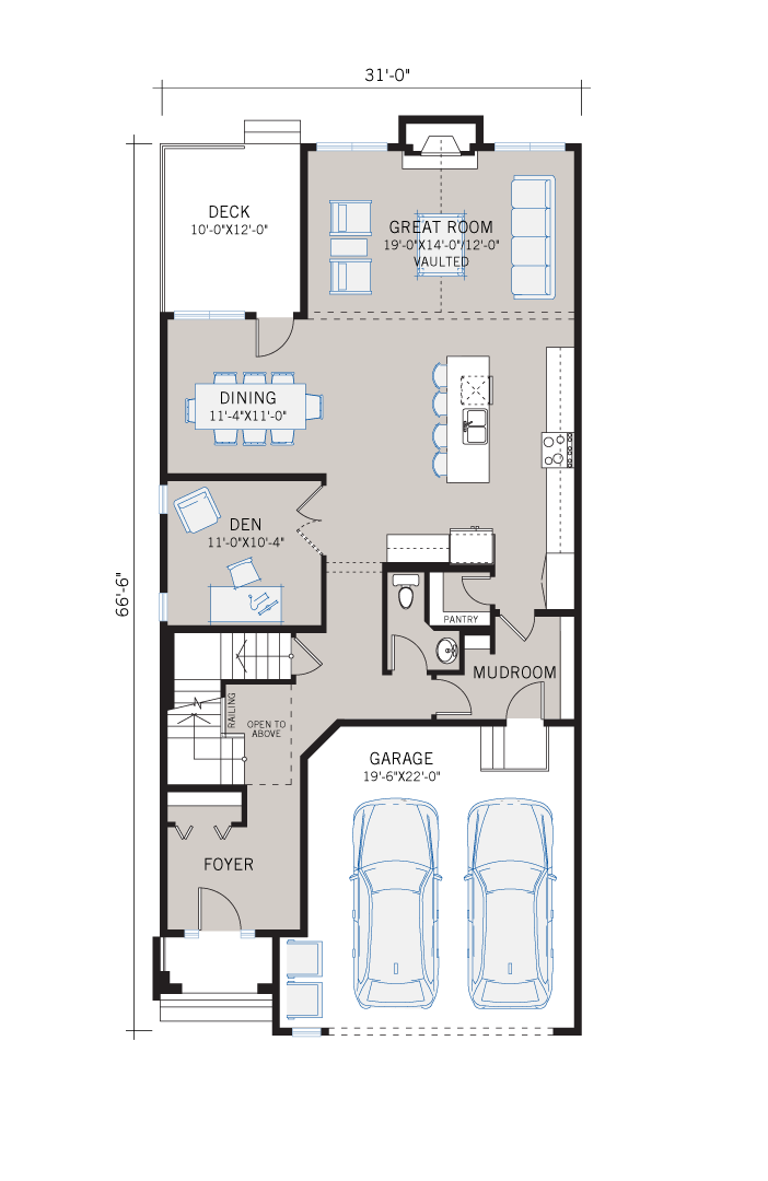 Base floorplan of Selkirk 2 - Prairie S3 - 2,788 sqft, 4 Bedroom, 2.5 Bathroom - Cardel Homes Calgary