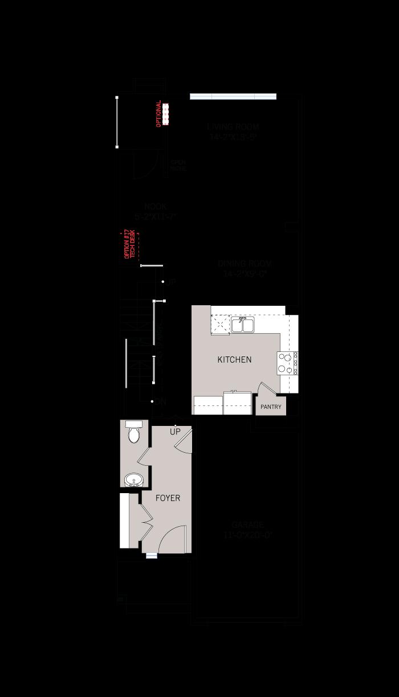 Base floorplan of Heron - Elevation B1/Scheme 2 - 2,187 sqft, 3 Bedroom, 2.5 Bathroom - Cardel Homes Ottawa