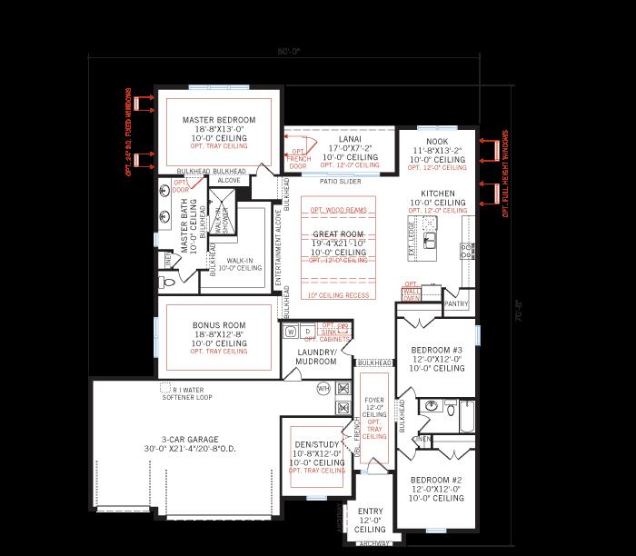 Base floorplan of BARRETT2 - WO - West Indies - 2,507 - 3,120 sqft, 3-5 Bedroom, 2-4 Bathroom - Cardel Homes Tampa