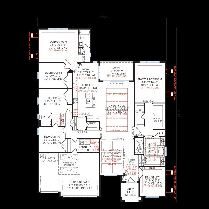 Base floorplan of SAVANNAH 2 - WO - West Indies - 3,308 sqft, 4 Bedroom, 3 Bathroom - Cardel Homes Tampa