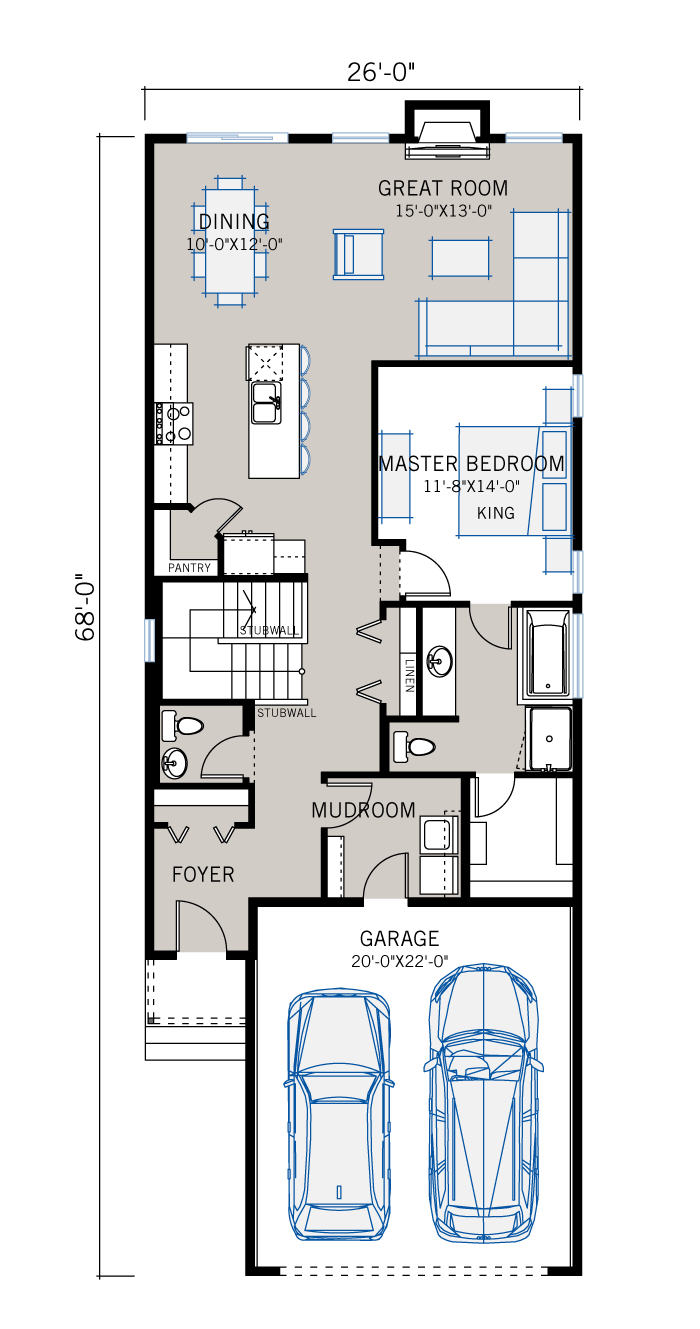 Base floorplan of Hudson - Farmhouse S4 - 1,234 sqft, 1 Bedroom, 1.5 Bathroom - Cardel Homes Calgary