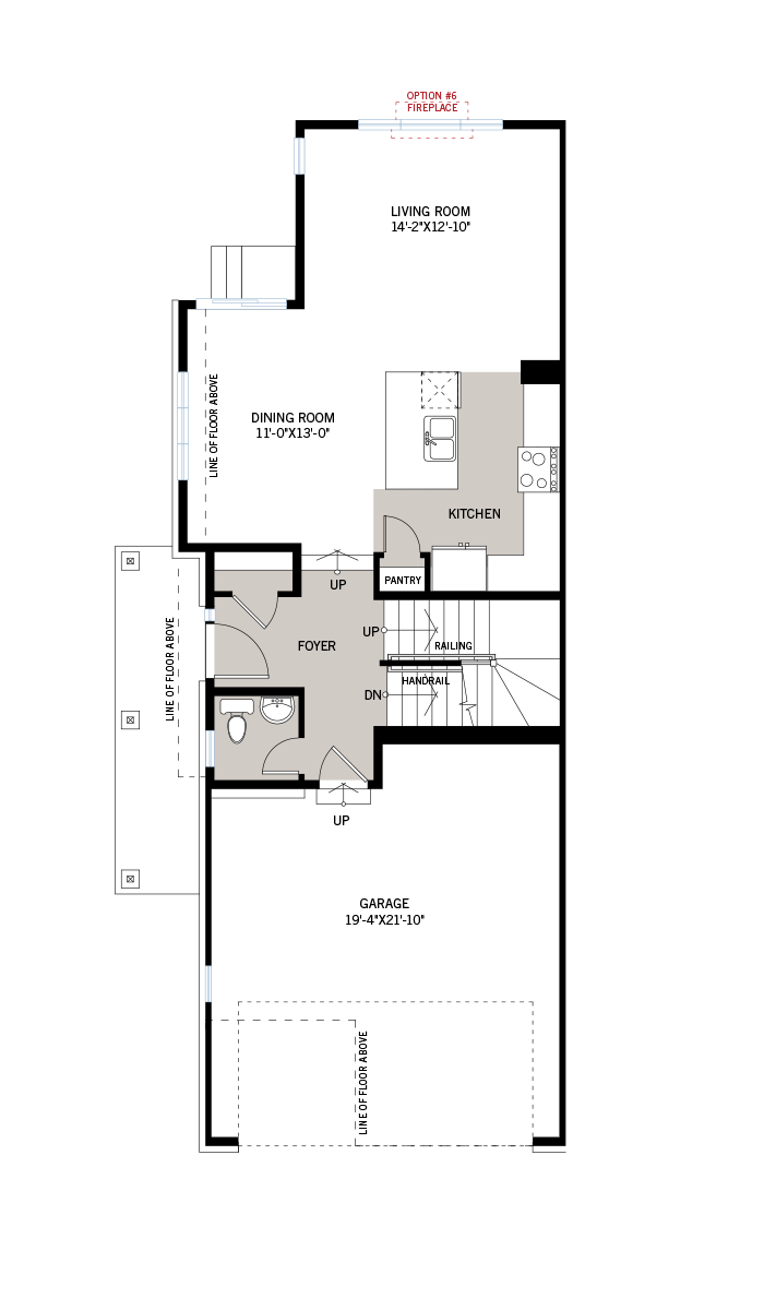 Base floorplan of Yarro 1 EW - Elevation B - 2,098 sqft, 3 Bedroom, 2.5 Bathroom - Cardel Homes Ottawa