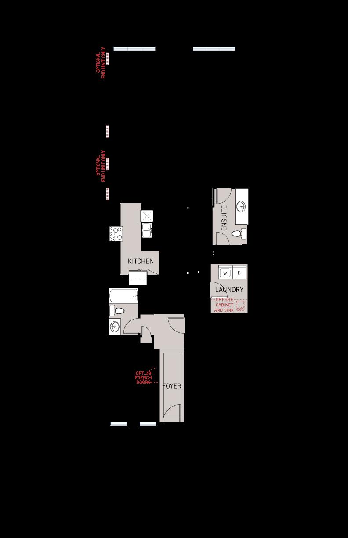 Base floorplan of Quincy MC - Bungalow Town Elev. A - 1,342 sqft, 2 Bedroom, 2 Bathroom - Cardel Homes Ottawa