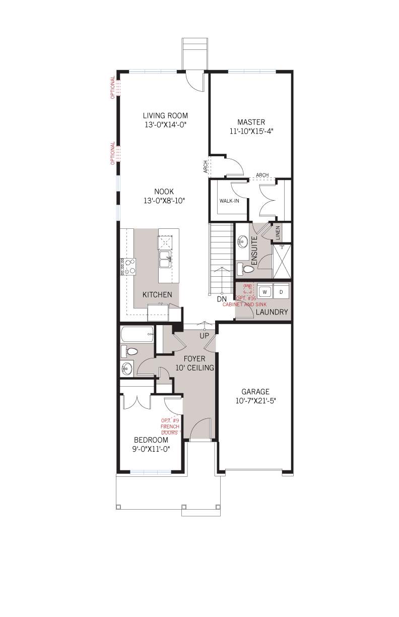 Base floorplan of Bryant MC - Bungalow Semi Elev. B - 1,293 sqft, 2 Bedroom, 2 Bathroom - Cardel Homes Ottawa