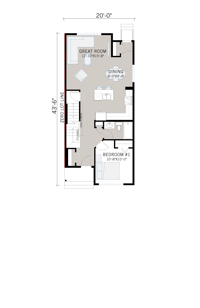 Base floorplan of Mensa - CB-Craftsman C1 - 1,538 sqft, 4 Bedroom, 3 Bathroom - Cardel Homes Calgary
