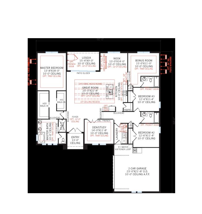 Base floorplan of MARTIN 2 - WO - West Indies - 2,533 - 2,805 sqft, 3-4 Bedroom, 3 Bathroom - Cardel Homes Tampa