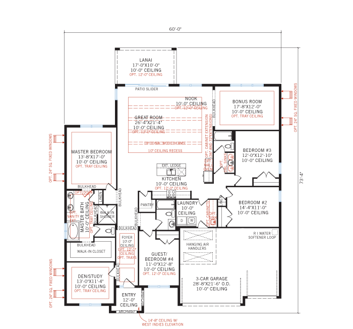 Base floorplan of WESLEY 2.0 - West Indies - 2,830 - 3,228 sqft, 4 Bedroom, 3-4 Bathroom - Cardel Homes Tampa