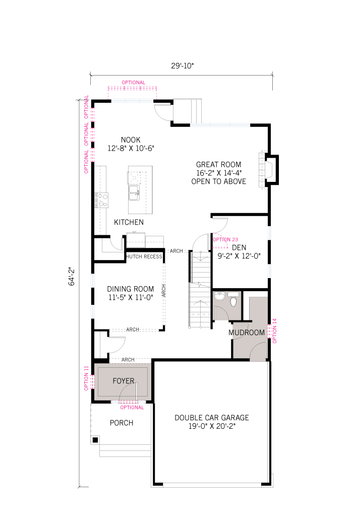Base floorplan of Rayburn - Modern B3 - 2,888 sqft, 2-5 Bedroom, 2.5 Bathroom - Cardel Homes Ottawa