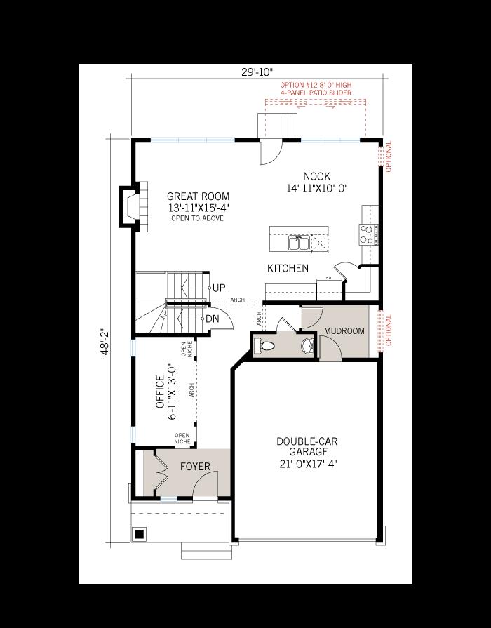 Base floorplan of A1_CANADIANA - 2,212 sqft, 4 Bedroom, 2.5 Bathroom - Cardel Homes Ottawa