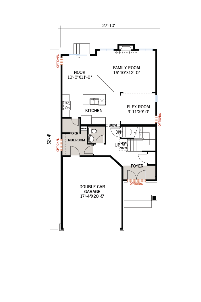 Base floorplan of Chesapeake-B2-Farmhouse - 2,110 sqft, 3 - 4 Bedroom, 2.5 Bathroom - Cardel Homes Ottawa