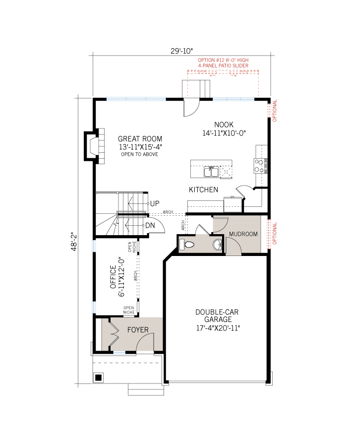 Base floorplan of Devonshire 2 - A3 Modern Prarie - 2,227 sqft, 4 Bedroom, 2.5 Bathroom - Cardel Homes Ottawa
