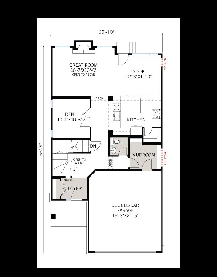 Base floorplan of North-Hampton-B3-Modern - 2,433 sqft, 3 - 4 Bedroom, 2.5 - 3.5 Bathroom - Cardel Homes Ottawa