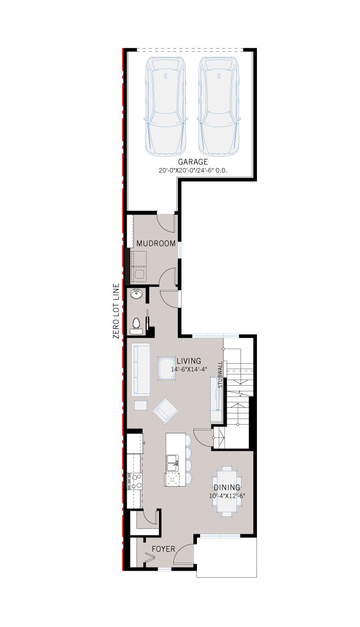 Base floorplan of EVO 3 - Traditional Farmhouse F3 - 1,608 sqft, 3 Bedroom, 2.5 Bathroom - Cardel Homes Calgary