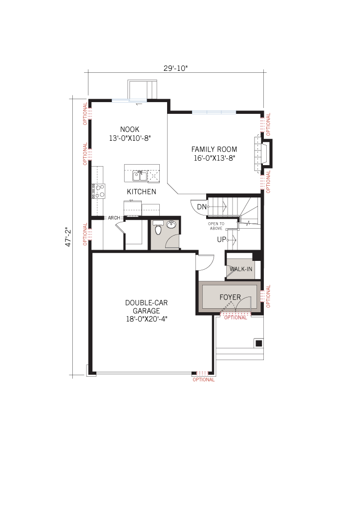Base floorplan of Montage-Modern-B3 - 2,031 sqft, 3 - 4 Bedroom, 2.5 Bathroom - Cardel Homes Ottawa
