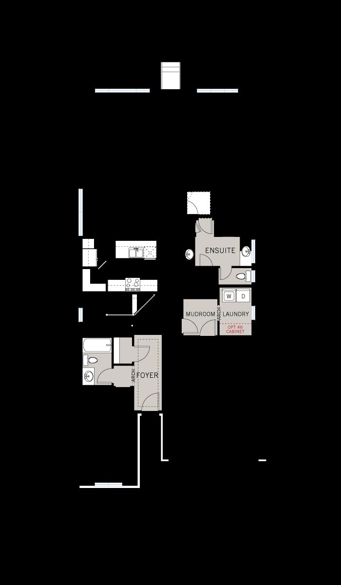 Base floorplan of Capella 2 - Canadiana A1 - 1,611 sqft, 2 Bedroom, 2 Bathroom - Cardel Homes Ottawa