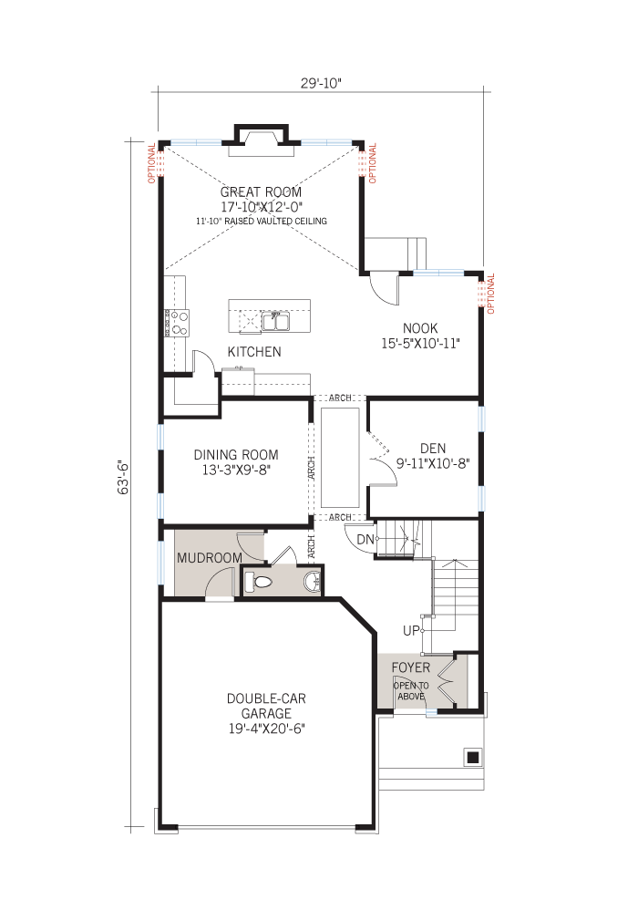 Base floorplan of Berkshire 2 - A1 Canadiana - 2,570 sqft, 4 Bedroom, 2.5 Bathroom - Cardel Homes Ottawa