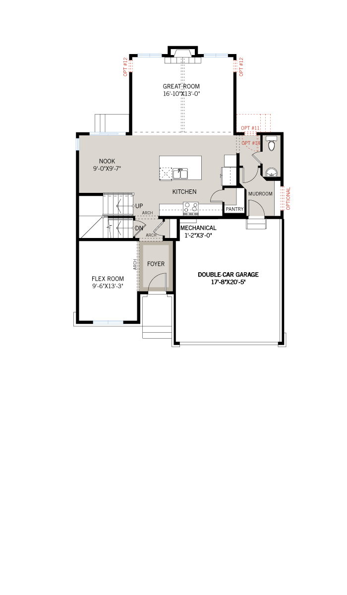 Base floorplan of Cornell CS - Traditional A2 - 2,130 sqft, 3 - 4 Bedroom, 2.5 Bathroom - Cardel Homes Ottawa