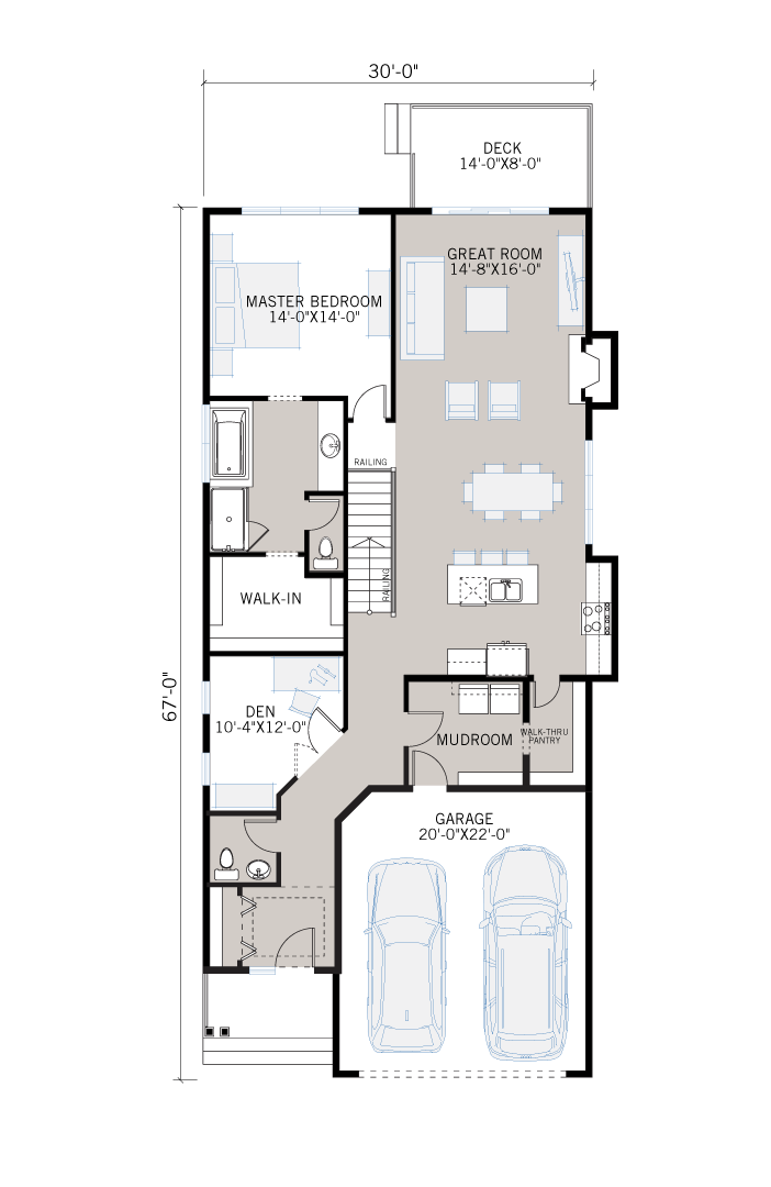 Base floorplan of Sycamore - Shingle S1 - 1,521 sqft, 3 Bedroom, 2.5 Bathroom - Cardel Homes Calgary