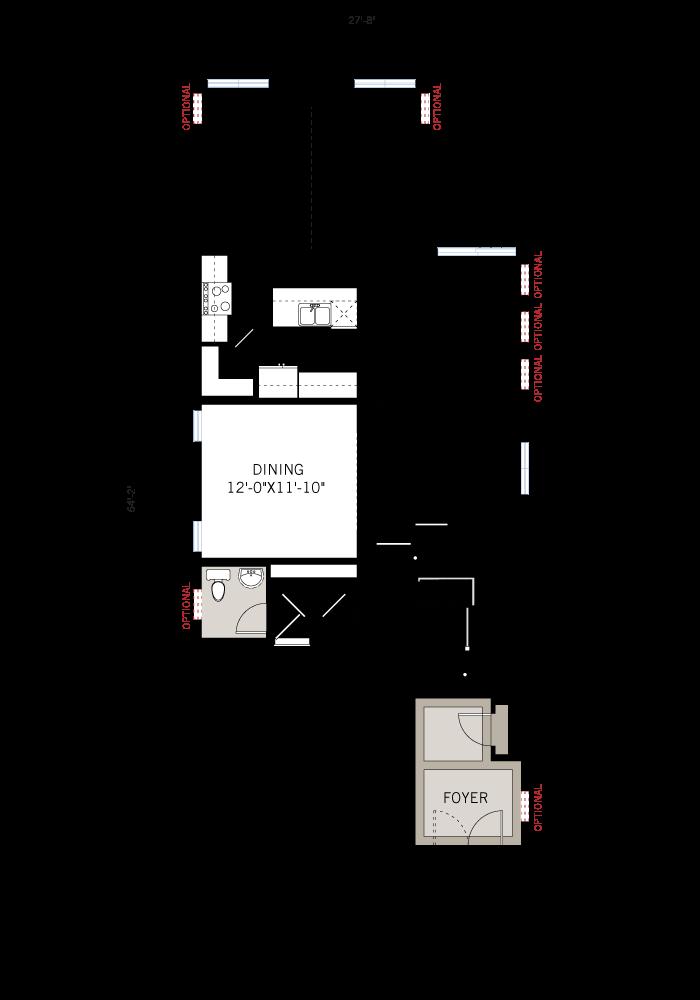 Base floorplan of SUTTON BS - Traditional A2 - 2,366 sqft, 4 Bedroom, 2.5 Bathroom - Cardel Homes Ottawa
