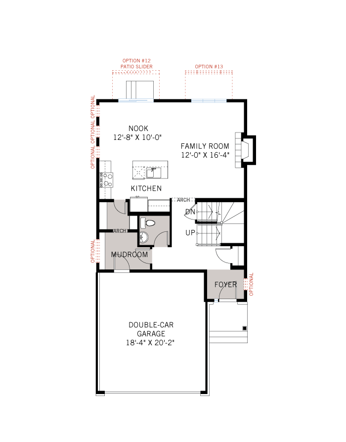 Base floorplan of AUDEN BS - Traditional A2 - 1,964 sqft, 3 Bedroom, 2.5 Bathroom - Cardel Homes Ottawa