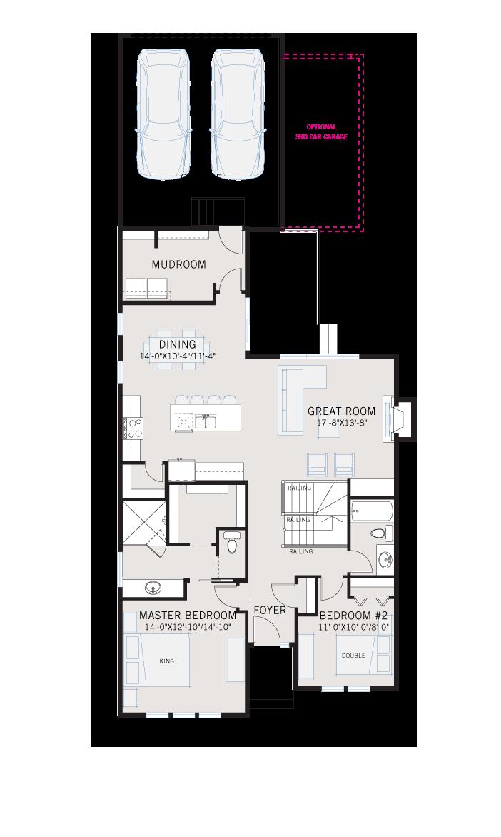 Base floorplan of CAMBRIA COURT 2 - Shingle S1 - 2,584 sqft, 4 Bedroom, 3 Bathroom - Cardel Homes Calgary