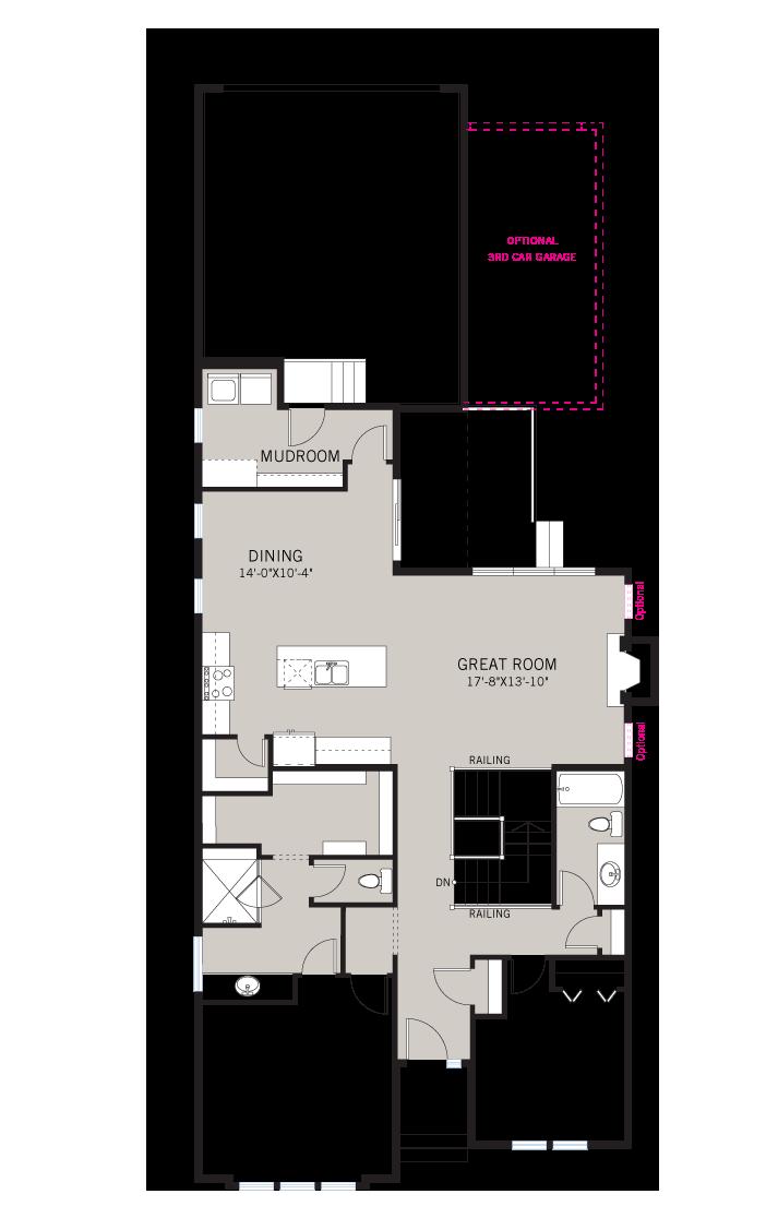 Base floorplan of CAMBRIA COURT - Rustic S2 - 1,611 sqft, 3 Bedroom, 3 Bathroom - Cardel Homes Calgary