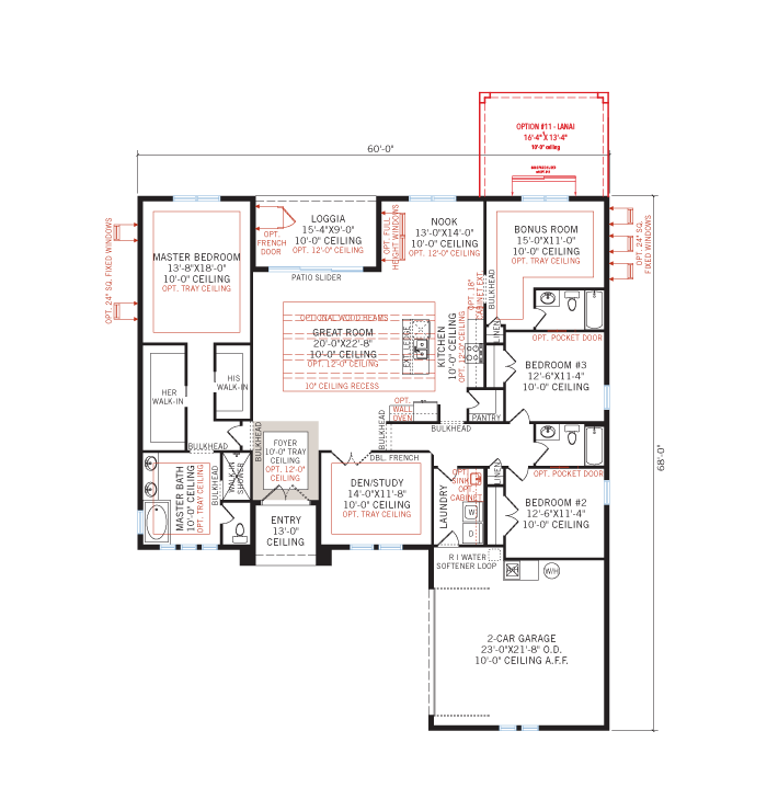 Base floorplan of MARTIN 2 - WO - West Indies - 2,533 - 2,805 sqft, 3-4 Bedroom, 3 Bathroom - Cardel Homes Tampa