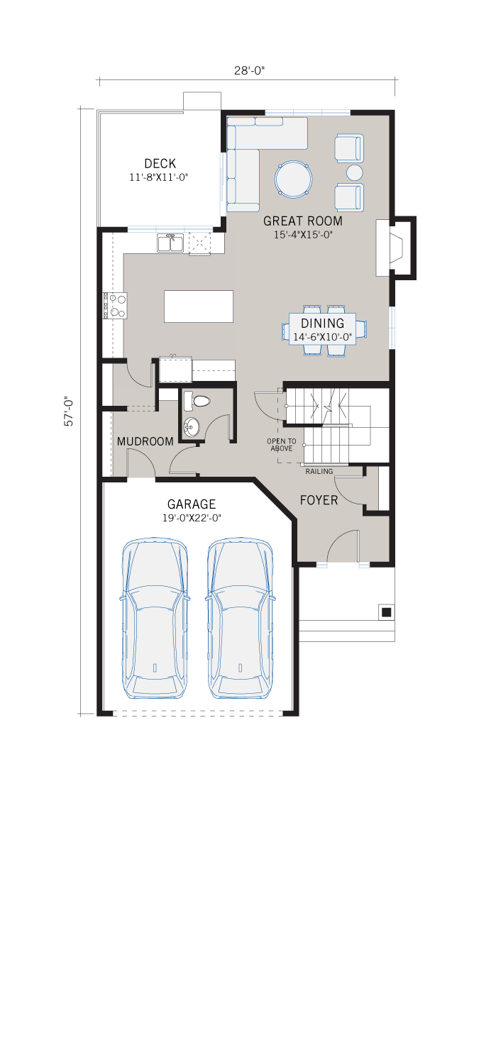Base floorplan of MIRO 2 - Prairie S3 - 2,109 sqft, 3 Bedroom, 2.5 Bathroom - Cardel Homes Calgary
