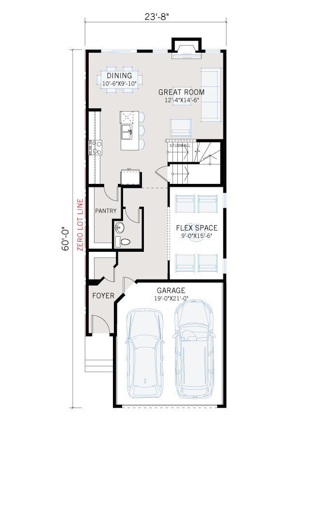 Base floorplan of Artisan 1 - Prairie C2 - 2,364 sqft, 4 Bedroom, 2.5 Bathroom - Cardel Homes Calgary