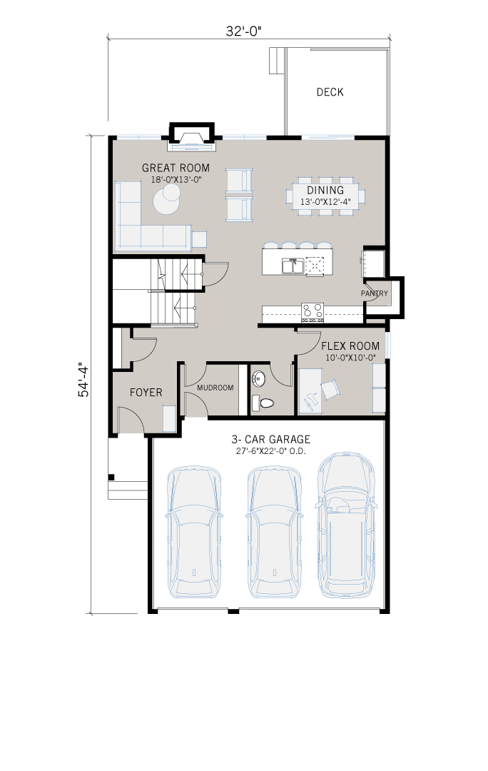 Base floorplan of Grafton - Shingle S1 - 2,408 sqft, 4 Bedroom, 3.5 Bathroom - Cardel Homes Calgary
