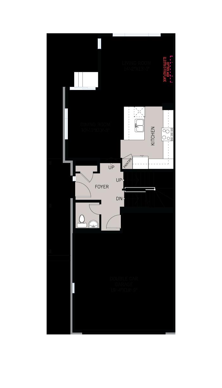 Base floorplan of Wren - Elevation B1/Scheme 2 - 2,153 sqft, 3 Bedroom, 2.5 Bathroom - Cardel Homes Ottawa