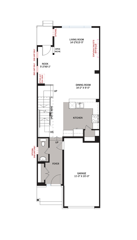 Base floorplan of Finch - Elevation B1/Scheme 2 - 2,288 sqft, 3 Bedroom, 2.5 Bathroom - Cardel Homes Ottawa