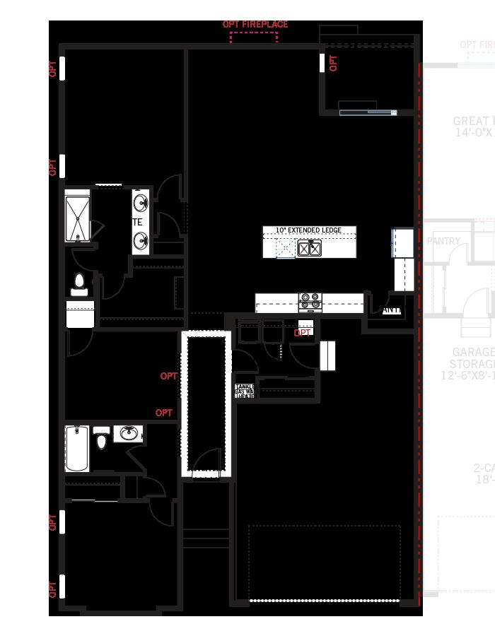 Base floorplan of Pine - LC - Elevation B - 1,627 sqft, 2 Bedroom, 2 Bathroom - Cardel Homes Denver