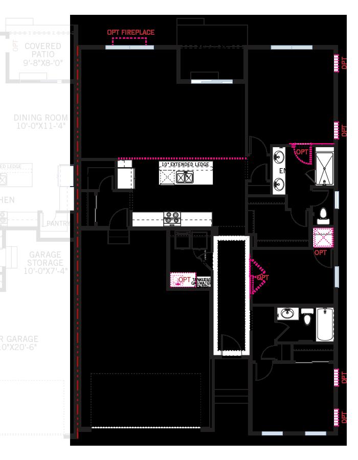 Base floorplan of Maple - LC - Elevation B - 1,532 sqft, 2 Bedroom, 2 Bathroom - Cardel Homes Denver