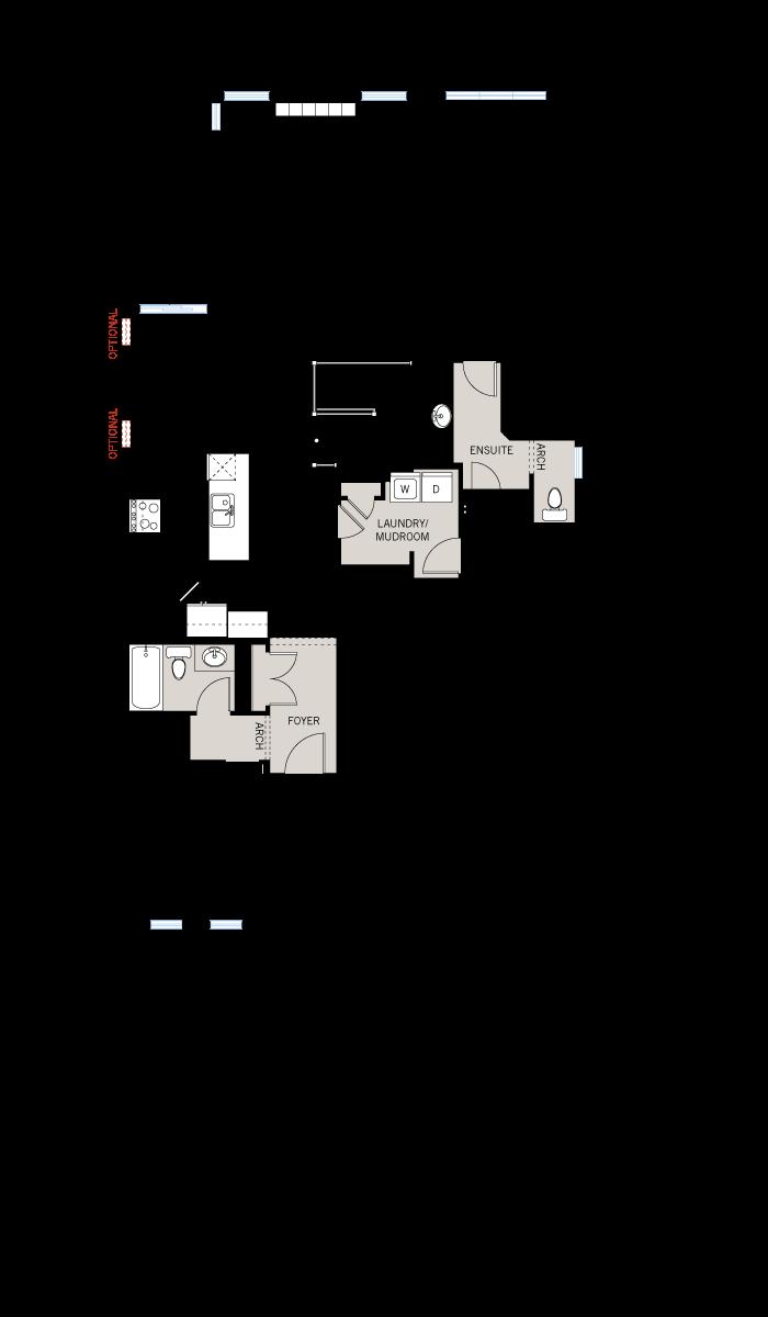 Base floorplan of Cameron - A3 Modern Urban - 1,535 sqft, 2 Bedroom, 2 Bathroom - Cardel Homes Ottawa