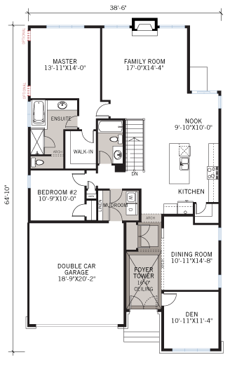 Base floorplan of Decker - A2 Traditional - 1,904 sqft, 2 Bedroom, 2 Bathroom - Cardel Homes Ottawa