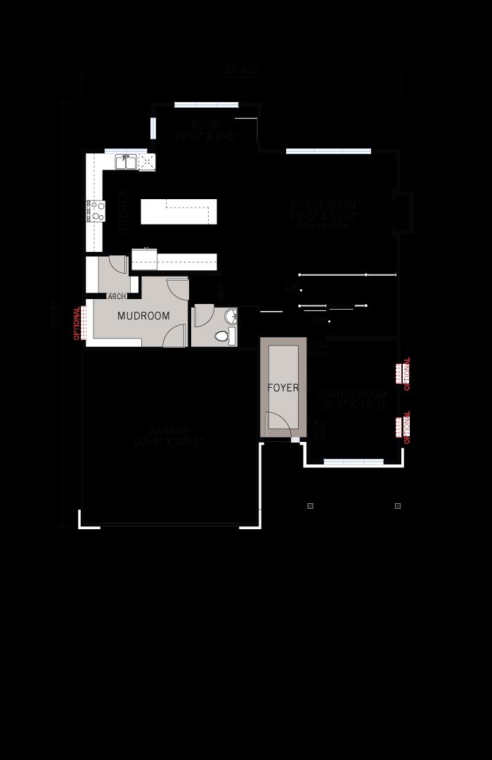 Base floorplan of Harrison - Traditional A2 - 2,470 sqft, 4 - 5 Bedroom, 2.5 - 3.5 Bathroom - Cardel Homes Ottawa