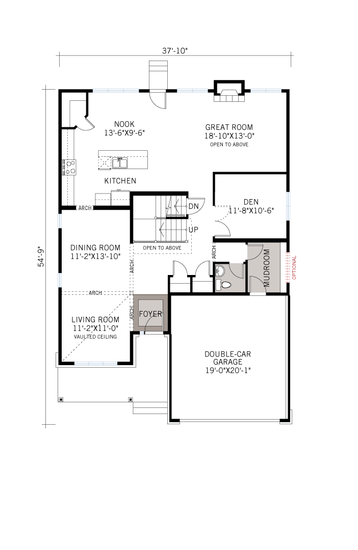 Base floorplan of Ridgecrest - Canadiana A1 - 2,815 sqft, 4 Bedroom, 2.5 Bathroom - Cardel Homes Ottawa