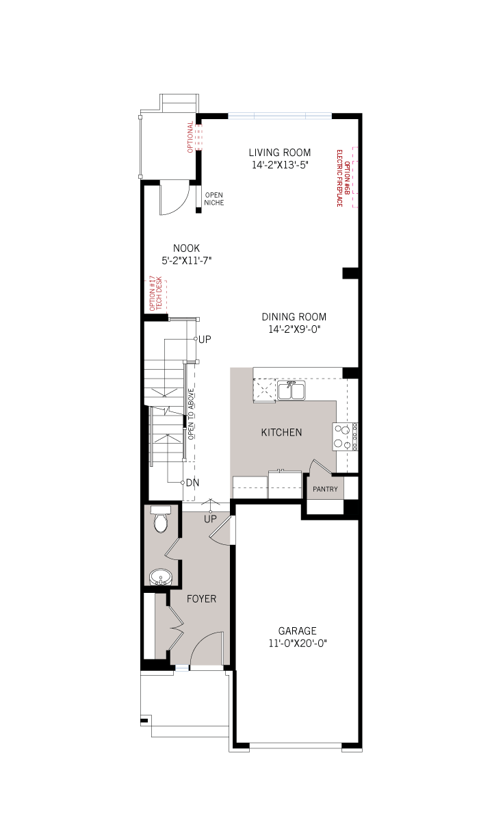 Base floorplan of Heron - Elevation B1/Scheme 2 - 2,187 sqft, 3 Bedroom, 2.5 Bathroom - Cardel Homes Ottawa
