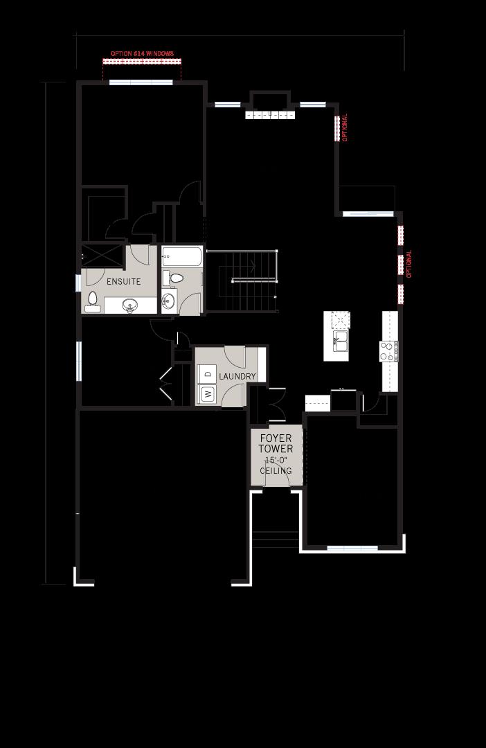 Base floorplan of Bowland CS - Canadiana A1 - 1,644 sqft, 2 - 3 Bedroom, 2 Bathroom - Cardel Homes Ottawa