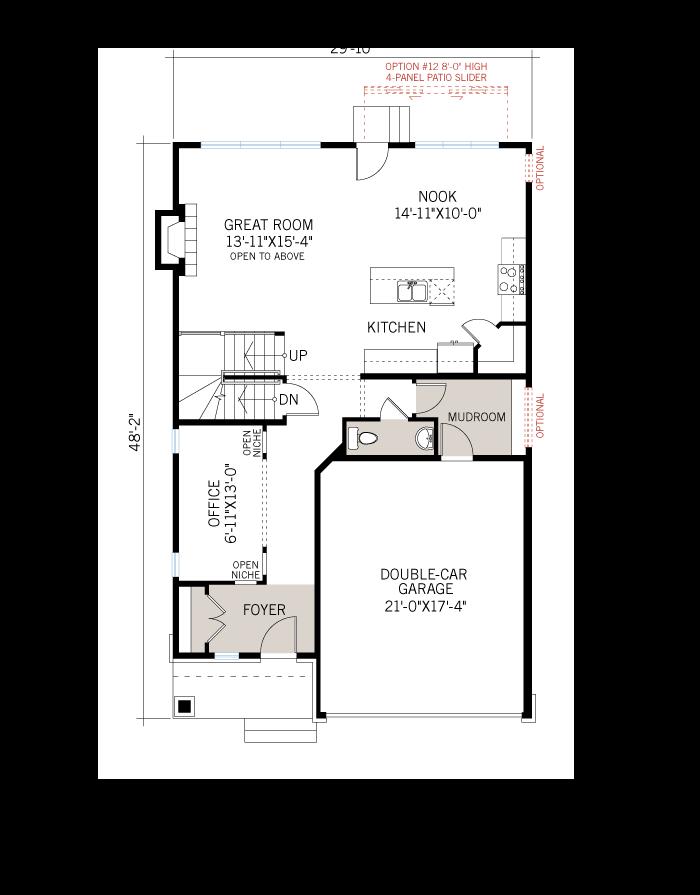Base floorplan of Devonshire 2 MCR-CRK - Modern B3 - 2,227 sqft, 4 Bedroom, 2.5 Bathroom - Cardel Homes Ottawa
