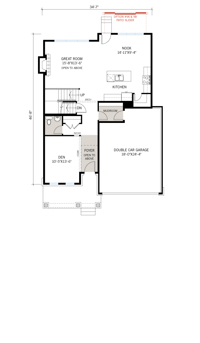 Base floorplan of Durham - A3 Modern Urban - 2,294 sqft, 4 Bedroom, 2.5 Bathroom - Cardel Homes Ottawa