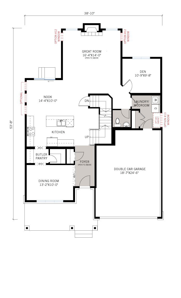 Base floorplan of Oxford - A3 Modern Urban - 2,529 sqft, 3 Bedroom, 2.5 Bathroom - Cardel Homes Ottawa