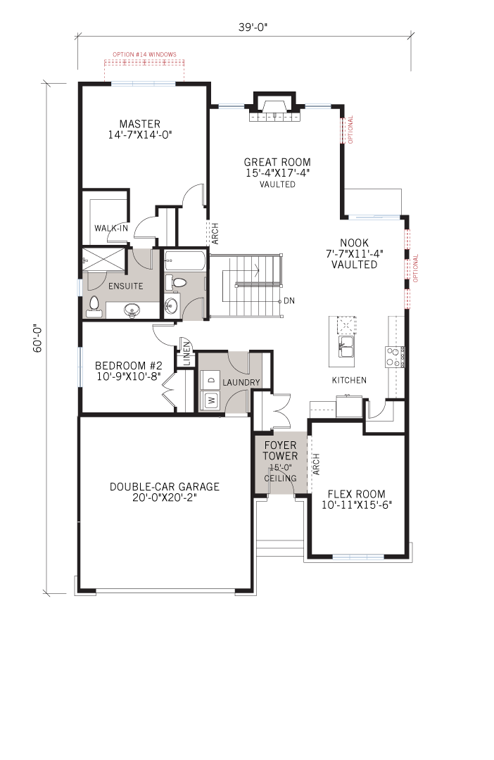 Base floorplan of Bowland - A2 Traditional - 1,644 sqft, 2 Bedroom, 2 Bathroom - Cardel Homes Ottawa