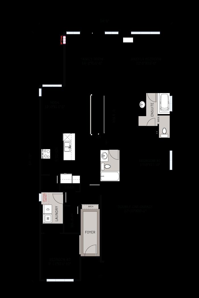 Base floorplan of Lancaster - Traditional A2 - 1,678 sqft, 3 Bedroom, 2 Bathroom - Cardel Homes Ottawa