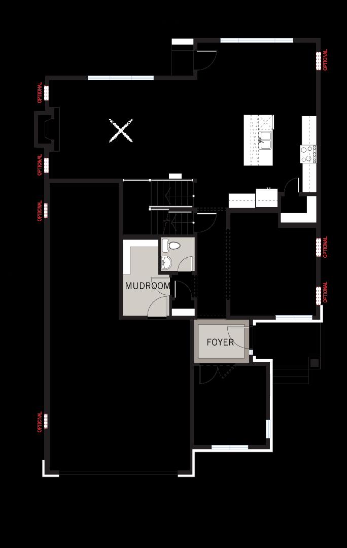 Base floorplan of Cassidy - A3 Modern Urban - 2,640 sqft, 3 Bedroom, 2.5 Bathroom - Cardel Homes Ottawa