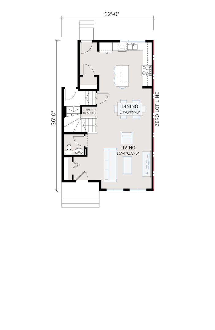 Base floorplan of Cole CBR - Farmhouse C3 - 1,508 sqft, 3 Bedroom, 2.5 Bathroom - Cardel Homes Calgary